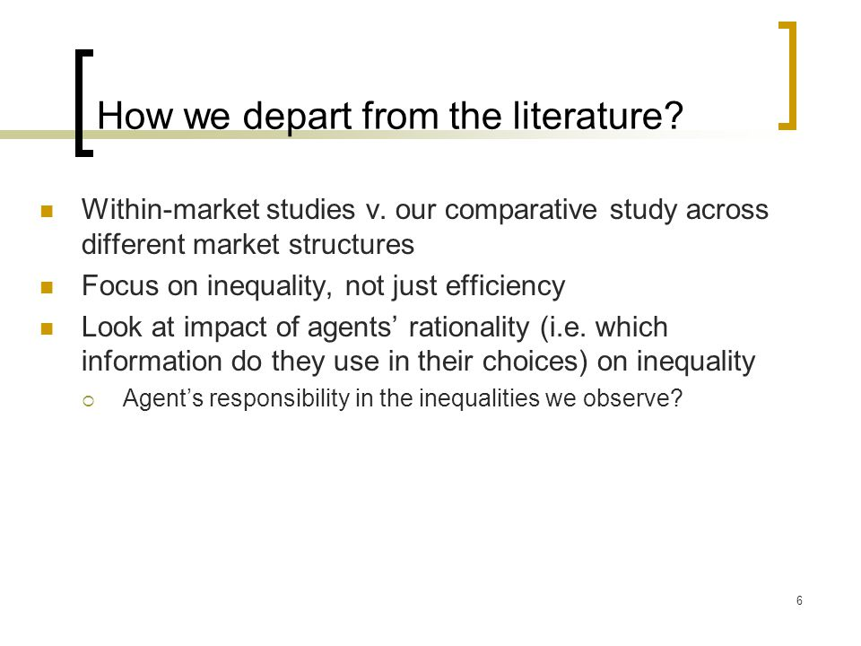 How we depart from the literature. Within-market studies v.