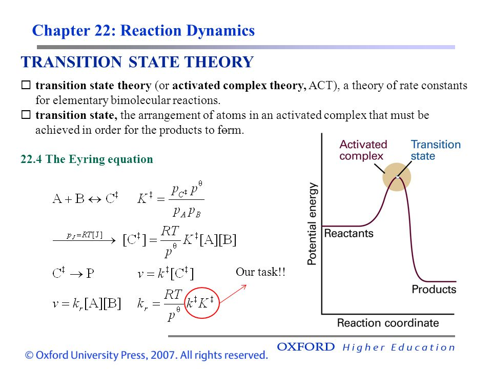 Chapter 22: Reaction Dynamics TRANSITION STATE THEORY transition state theory (or activated complex theory, ACT), a theory of rate constants for eleme