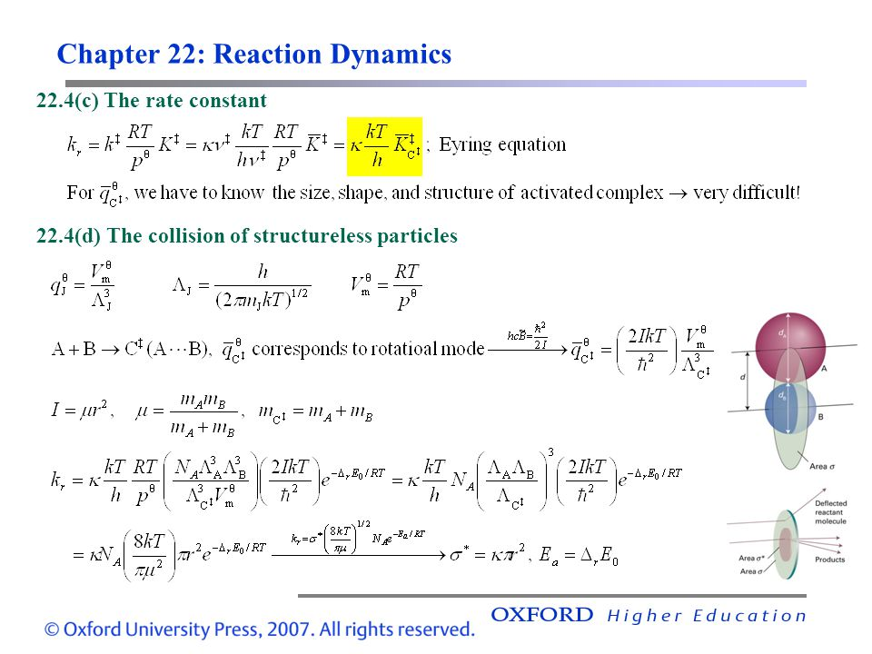 Chapter 22: Reaction Dynamics 22.4(c) The rate constant 22.4(d) The collision of structureless particles