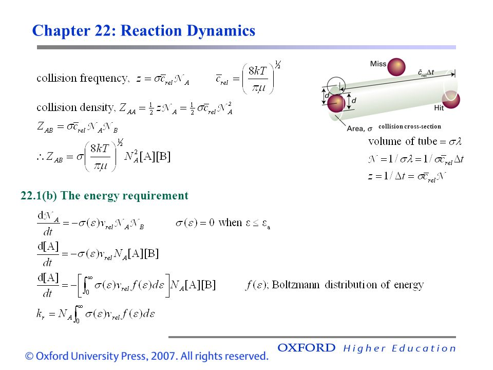 Chapter 22: Reaction Dynamics 22.1(b) The energy requirement collision cross-section