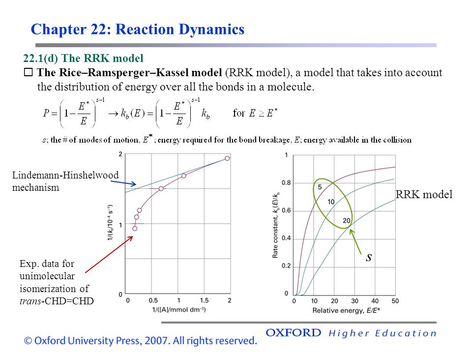 Chapter 22: Reaction Dynamics 22.1(d) The RRK model The Rice–Ramsperger–Kassel model (RRK model), a model that takes into account the distribution of