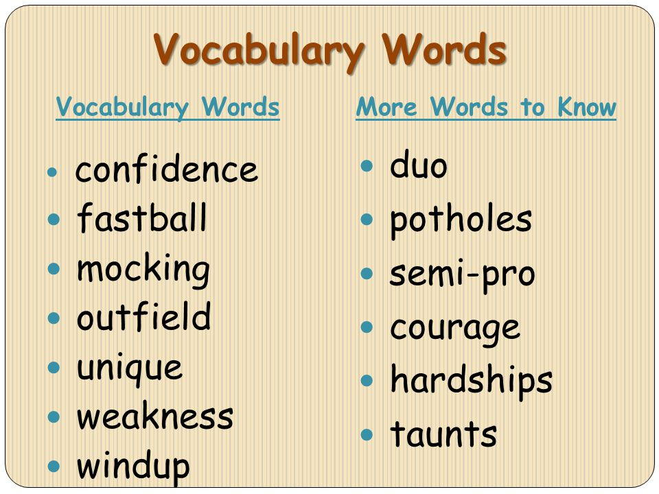 Vocabulary Words confidence fastball mocking outfield unique weakness windup duo potholes semi-pro courage hardships taunts Vocabulary WordsMore Words