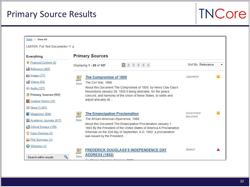 22 Primary Source Results