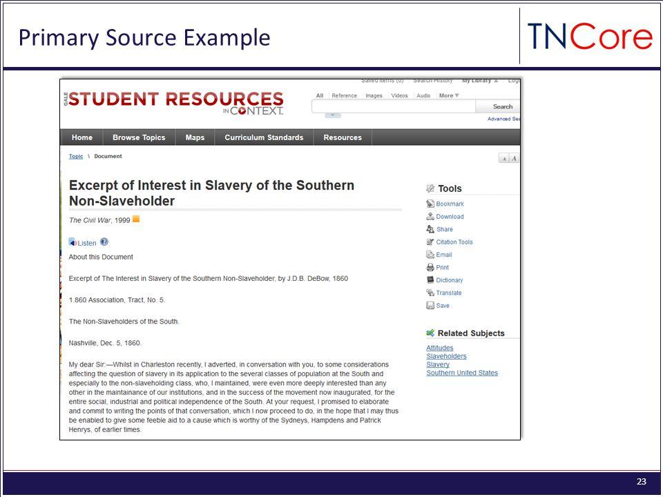 23 Primary Source Example
