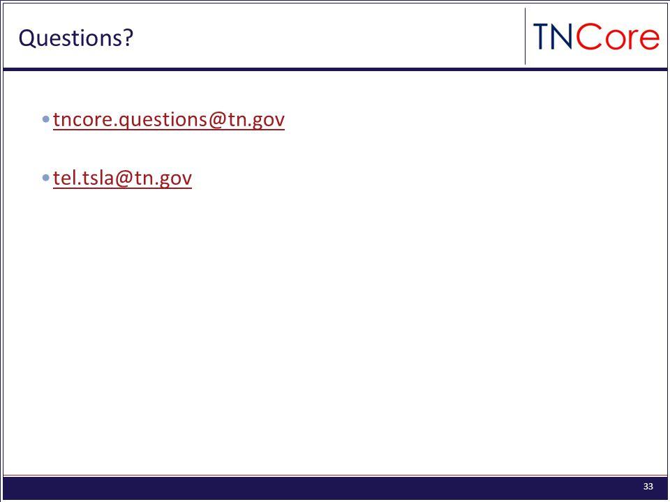 33 Questions tncore.questions@tn.gov tel.tsla@tn.gov