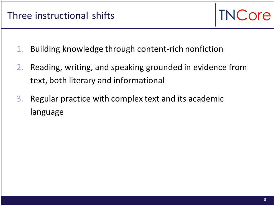4 Shift 1: Informational text *Percentages apply across all courses Source: p. 5 of CCSS
