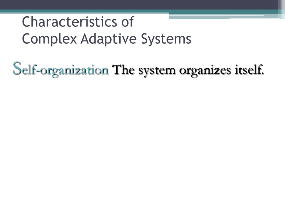 S elf-organization The system organizes itself. Characteristics of Complex Adaptive Systems