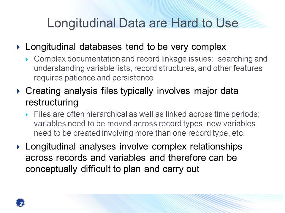 The Longitudinal Unit of Analysis Longitudinal Surveys such as SIPP, the Health and Retirement Survey, etc.