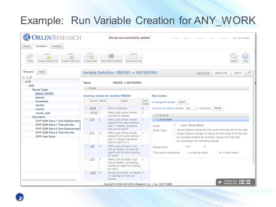Example: Run Variable Creation for ANY_WORK