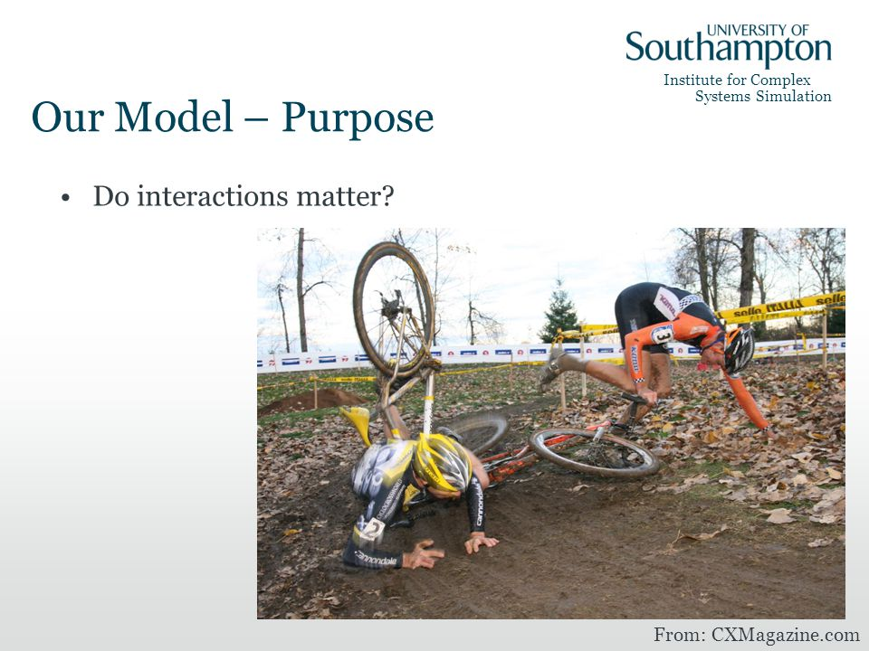 Institute for Complex Systems Simulation Our Model – Purpose Do interactions matter.
