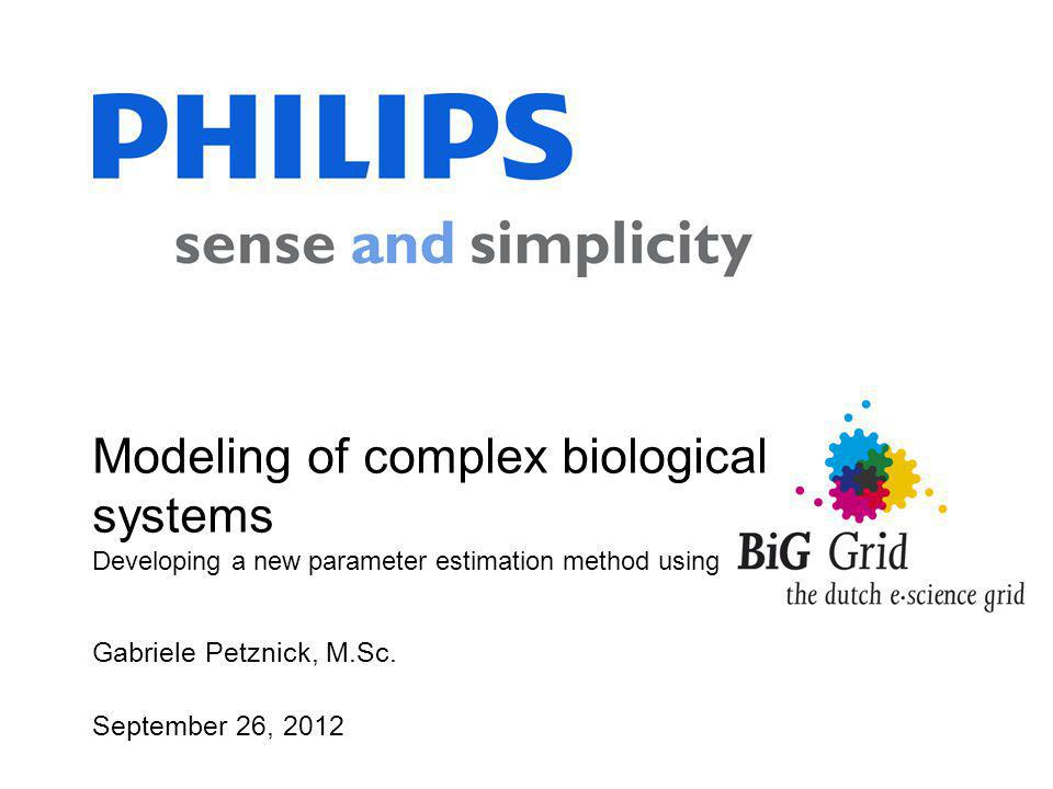 Gabriele Petznick, M.Sc. September 26, 2012 Modeling of complex biological systems Developing a new parameter estimation method using