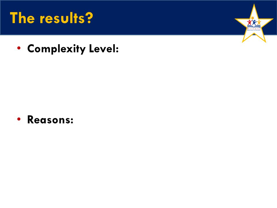 The results Complexity Level: Reasons: