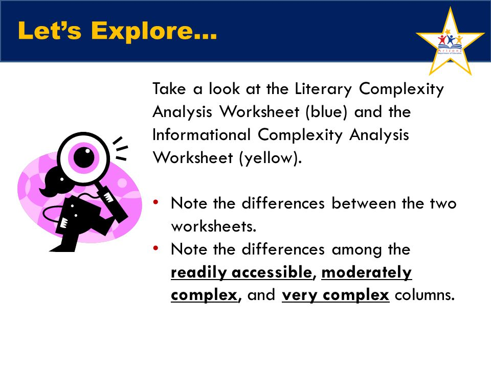 Lets Explore… Take a look at the Literary Complexity Analysis Worksheet (blue) and the Informational Complexity Analysis Worksheet (yellow).