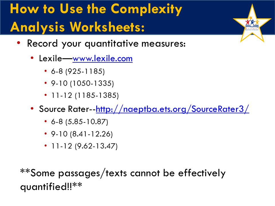 How to Use the Complexity Analysis Worksheets: Record your quantitative measures: Lexilewww.lexile.comwww.lexile.com 6-8 (925-1185) 9-10 (1050-1335) 11-12 (1185-1385) Source Rater--http://naeptba.ets.org/SourceRater3/http://naeptba.ets.org/SourceRater3/ 6-8 (5.85-10.87) 9-10 (8.41-12.26) 11-12 (9.62-13.47) **Some passages/texts cannot be effectively quantified!!**