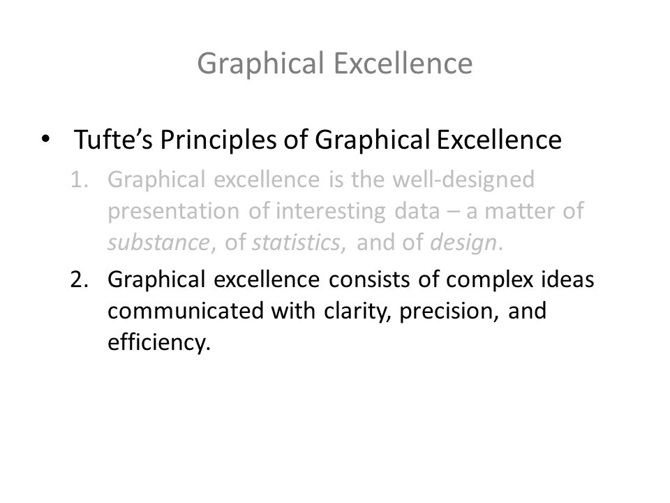 Graphical Excellence Tuftes Principles of Graphical Excellence 1.Graphical excellence is the well-designed presentation of interesting data – a matter