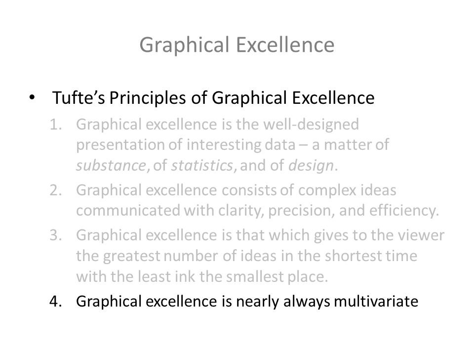 Graphical Excellence Tuftes Principles of Graphical Excellence 1.Graphical excellence is the well-designed presentation of interesting data – a matter of substance, of statistics, and of design.
