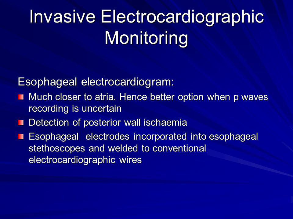Invasive Electrocardiographic Monitoring Esophageal electrocardiogram: Much closer to atria. Hence better option when p waves recording is uncertain D