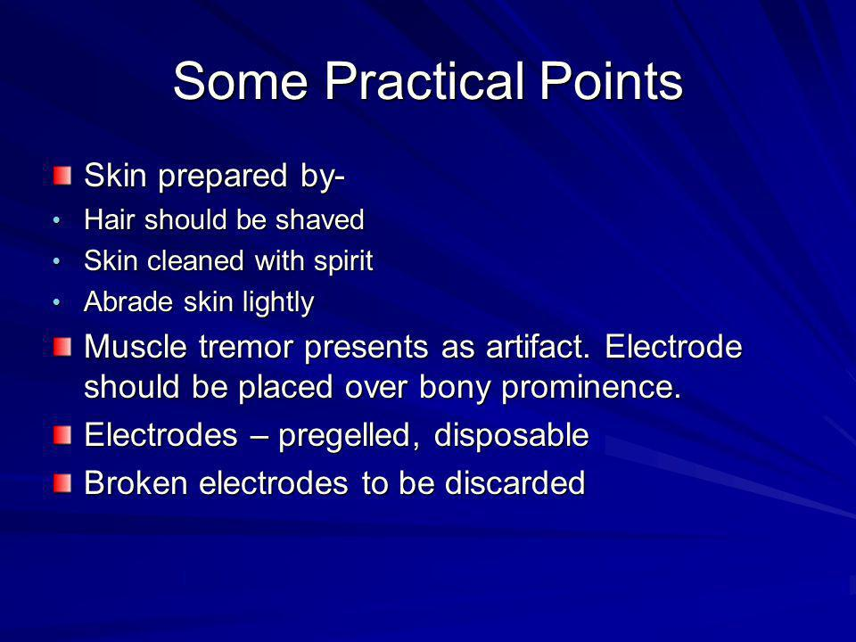 Some Practical Points Skin prepared by- Hair should be shaved Hair should be shaved Skin cleaned with spirit Skin cleaned with spirit Abrade skin ligh