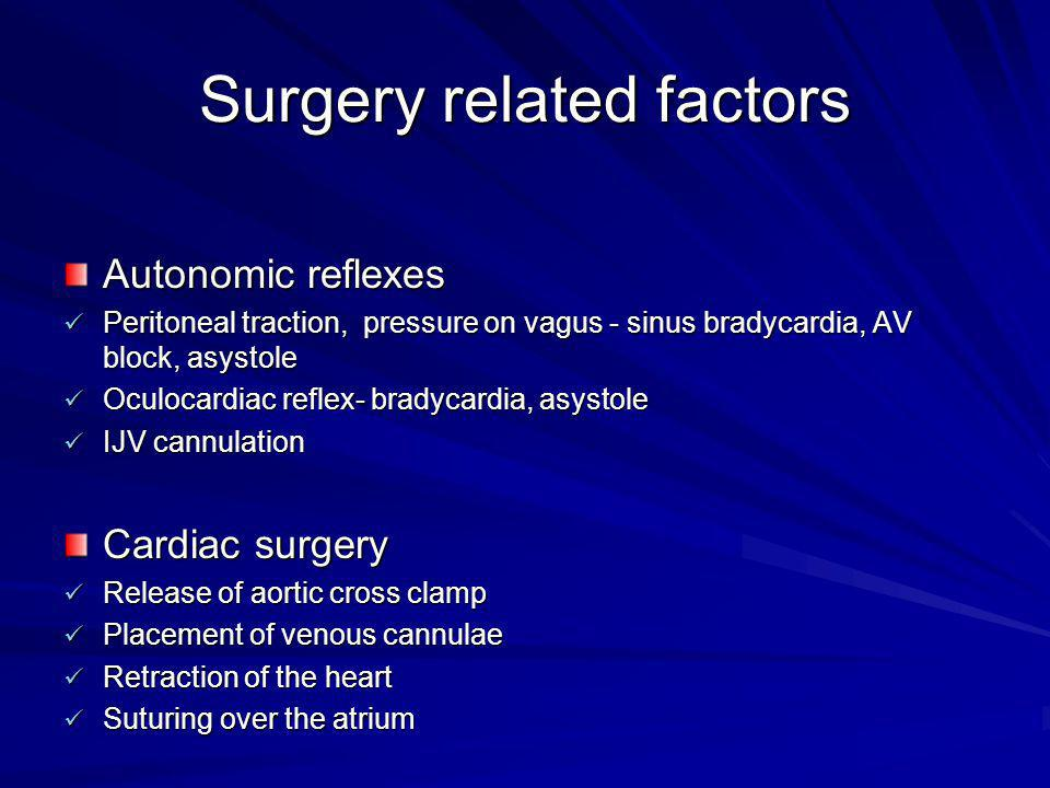 Surgery related factors Autonomic reflexes Peritoneal traction, pressure on vagus - sinus bradycardia, AV block, asystole Peritoneal traction, pressur