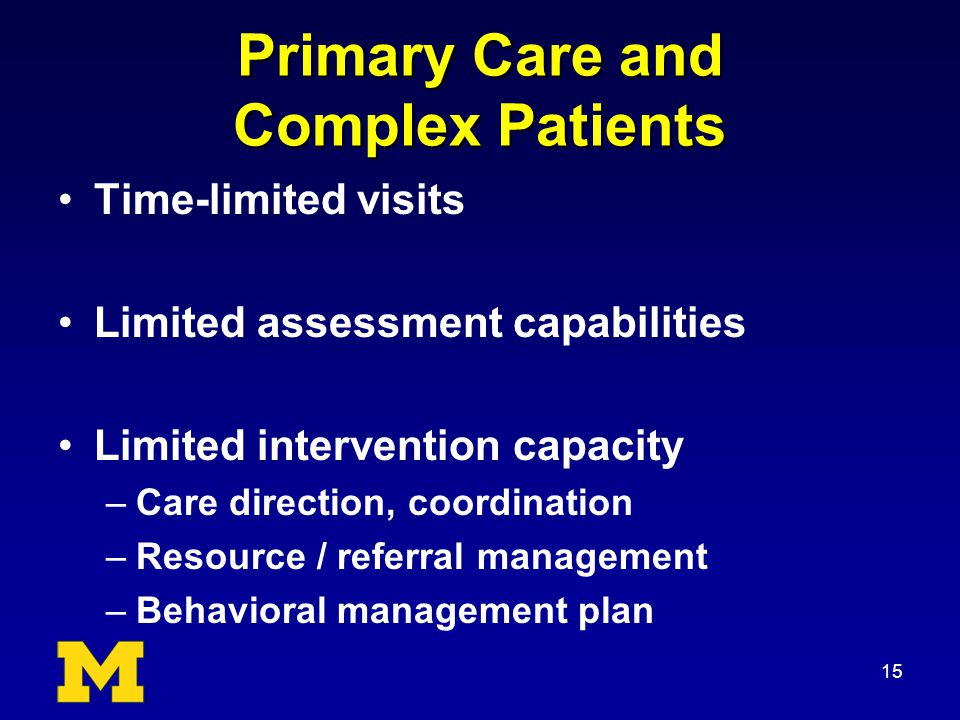 Primary Care and Complex Patients Time-limited visits Limited assessment capabilities Limited intervention capacity –Care direction, coordination –Resource / referral management –Behavioral management plan 15