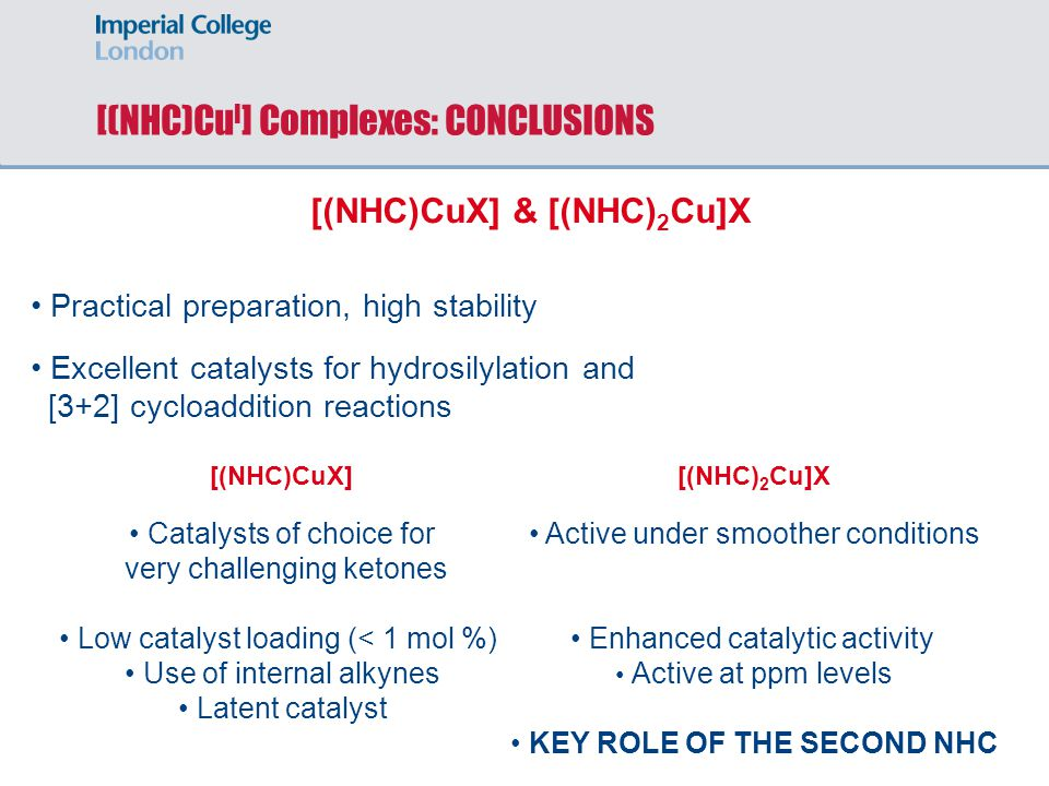 [(NHC)Cu I ] Complexes: CONCLUSIONS [(NHC)CuX] & [(NHC) 2 Cu]X Practical preparation, high stability Active under smoother conditions Enhanced catalytic activity Active at ppm levels KEY ROLE OF THE SECOND NHC Excellent catalysts for hydrosilylation and [3+2] cycloaddition reactions [(NHC)CuX][(NHC) 2 Cu]X Catalysts of choice for very challenging ketones Low catalyst loading (< 1 mol %) Use of internal alkynes Latent catalyst