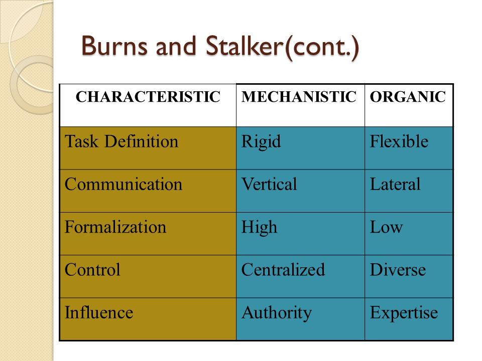 Burns and Stalker(cont.) Organic organization Organic organizations are relatively flexible and adaptable.