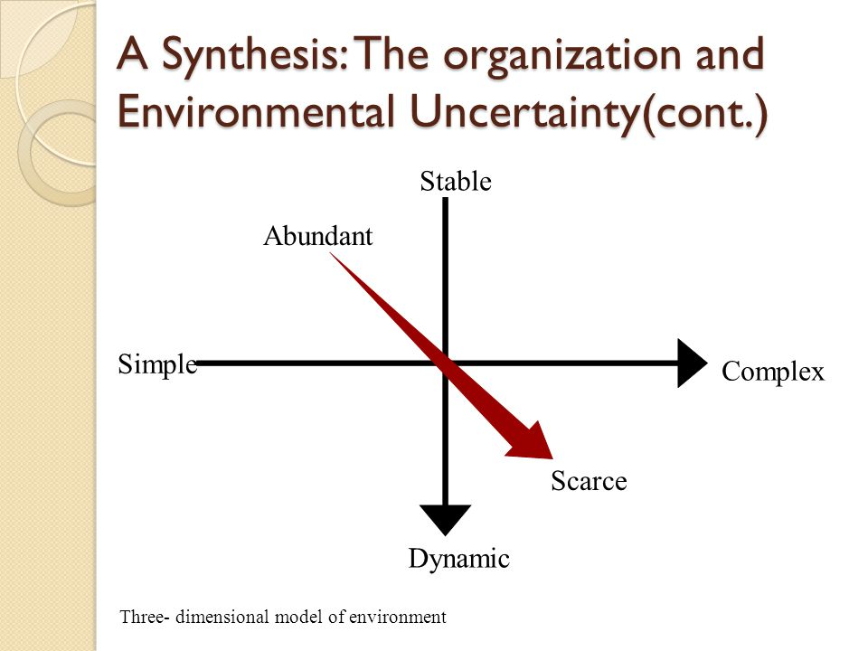 A Synthesis: The organization and Environmental Uncertainty There are three key dimensions to any organizations environment: capacity, stability and complexity The capacity of an environment refers to the degree to which it can support growth.