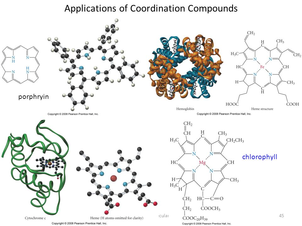 Applications of Coordination Compounds porphyrin Tro, Chemistry: A Molecular Approach45 chlorophyll porphryin