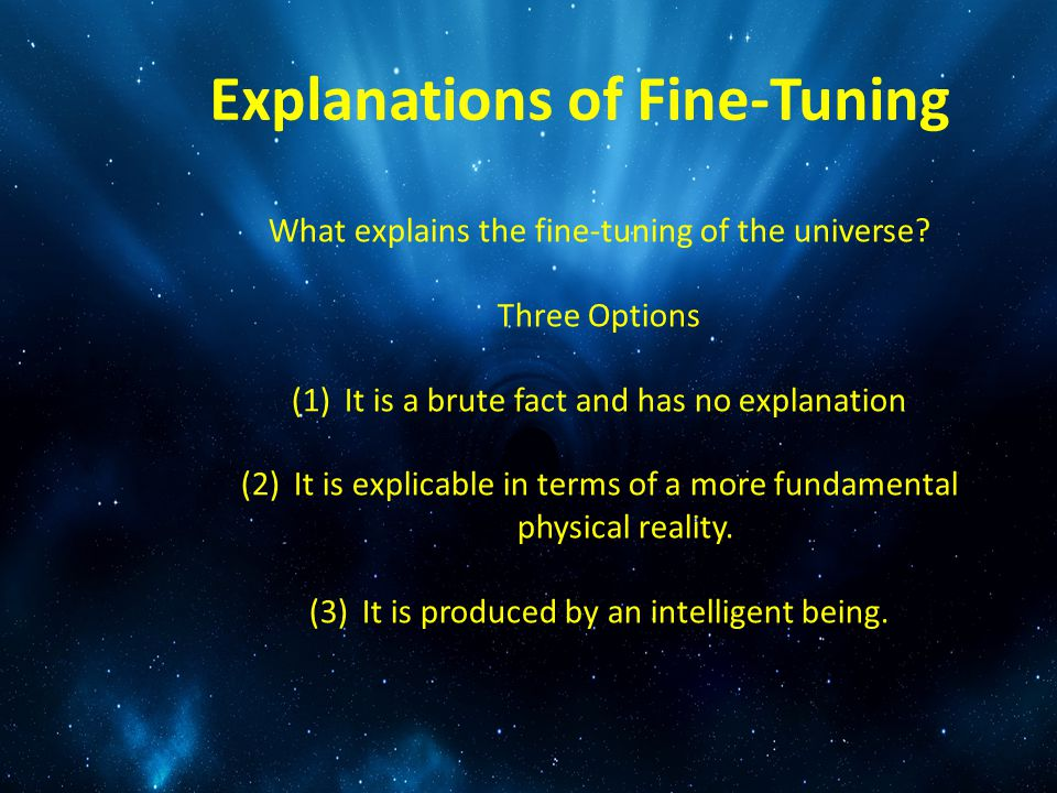 Explanations of Fine-Tuning What explains the fine-tuning of the universe.