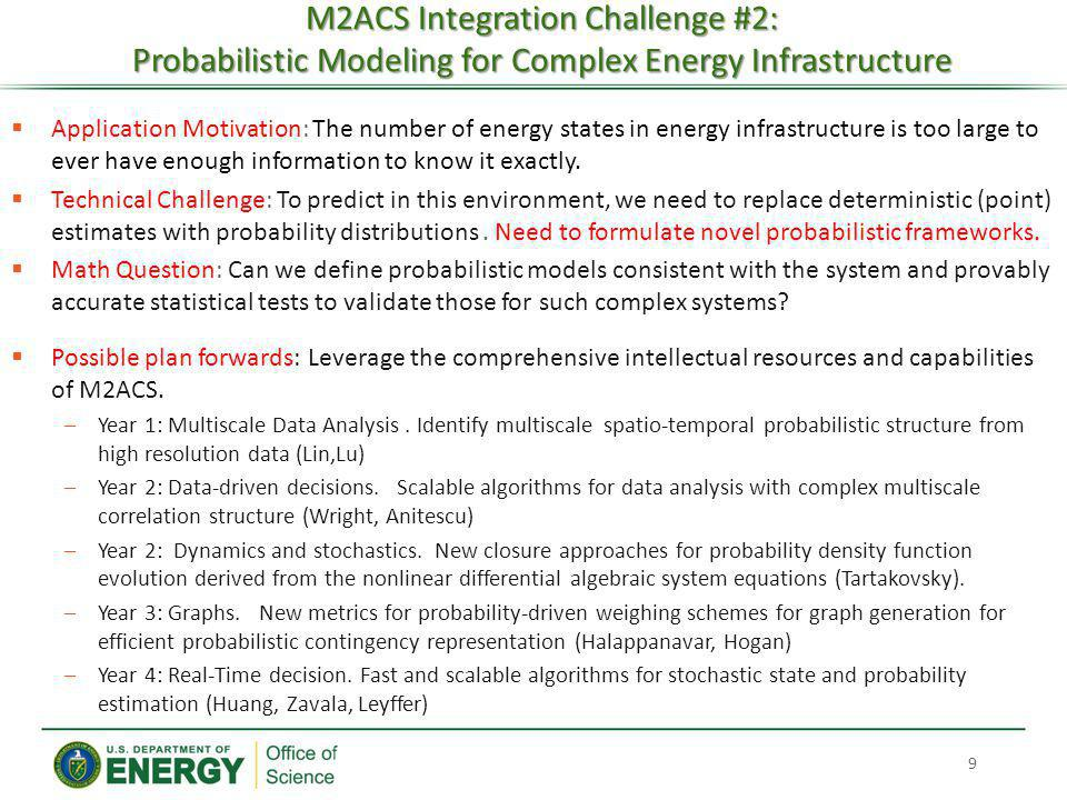 M2ACS Integration Challenge #2: Probabilistic Modeling for Complex Energy Infrastructure 9 Application Motivation: The number of energy states in ener
