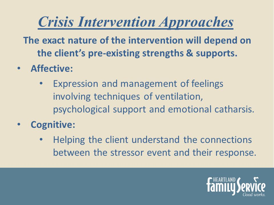 The exact nature of the intervention will depend on the clients pre-existing strengths & supports.