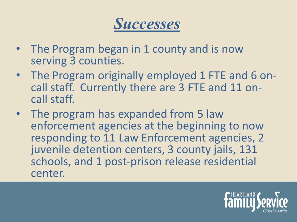 The Program began in 1 county and is now serving 3 counties.