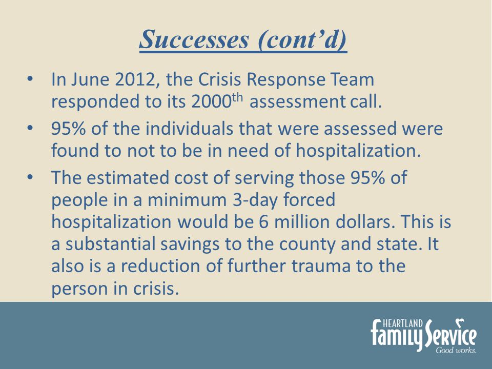 In June 2012, the Crisis Response Team responded to its 2000 th assessment call.