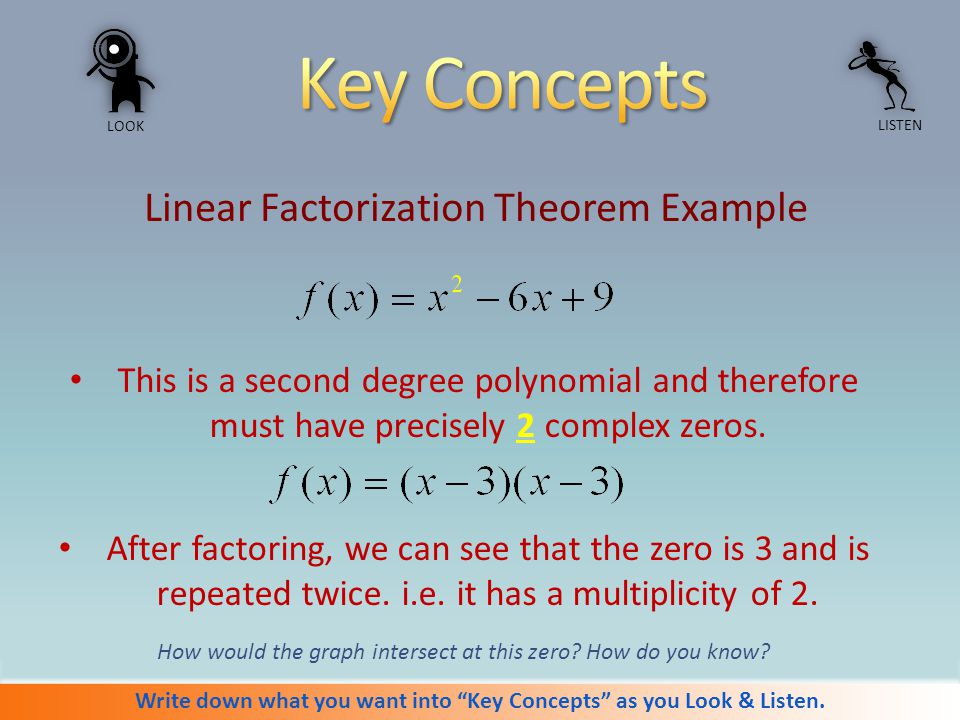 Write in notebook.SWBAT write a polynomial function given the real & complex zeros.