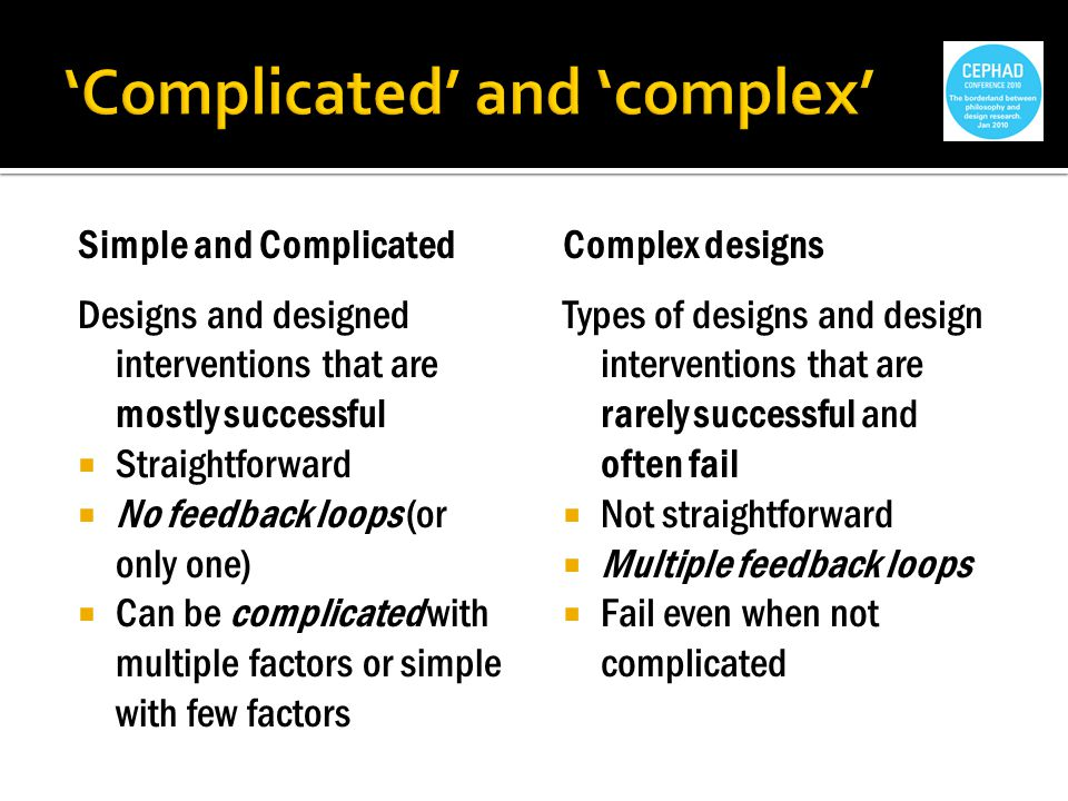Simple and Complicated Designs and designed interventions that are mostly successful Straightforward No feedback loops (or only one) Can be complicated with multiple factors or simple with few factors Complex designs Types of designs and design interventions that are rarely successful and often fail Not straightforward Multiple feedback loops Fail even when not complicated