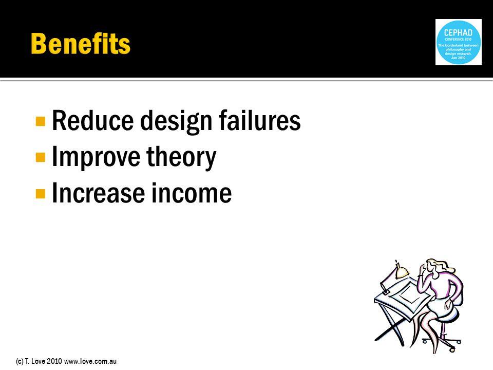 (c) T. Love 2010 www.love.com.au Reduce design failures Improve theory Increase income