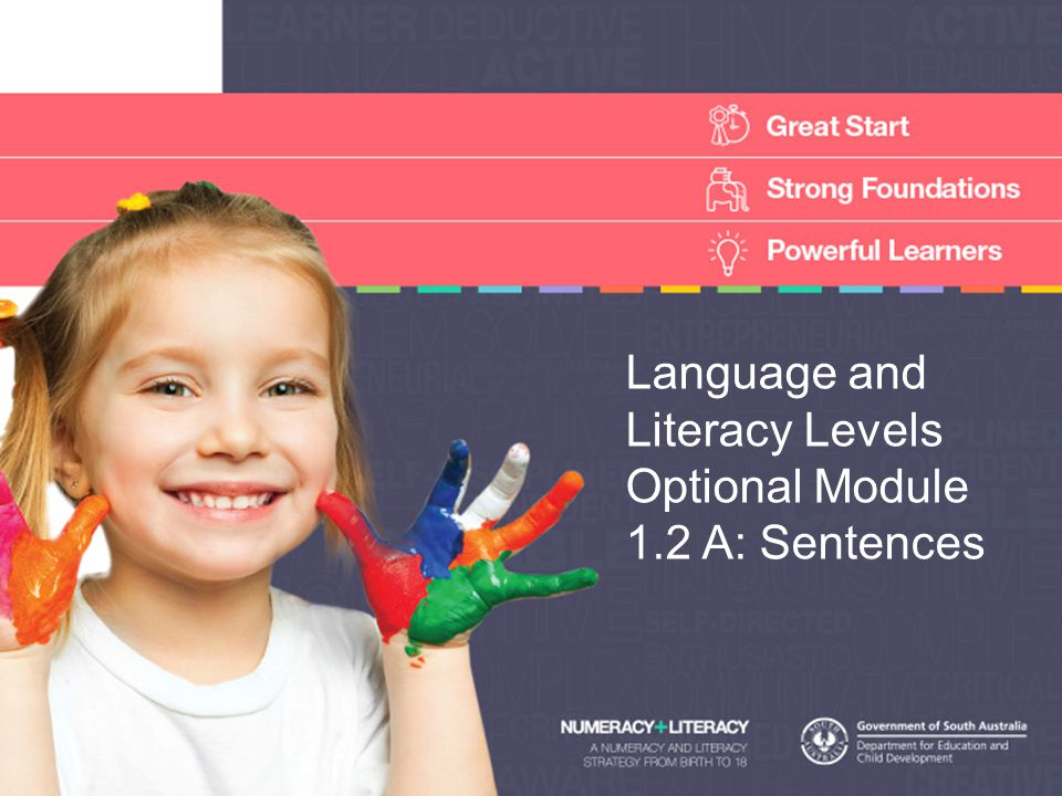 Language and Literacy Levels Optional Module 1.2 A: Sentences