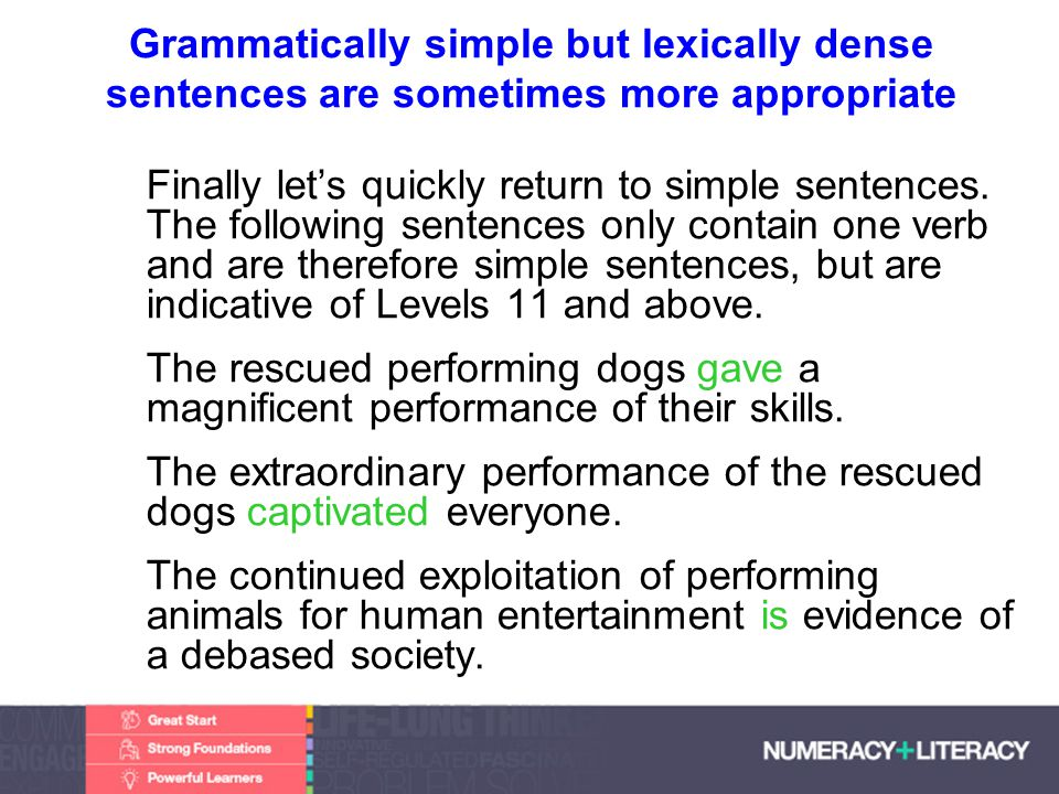 Faculty of Edit this on the Slide MasterThe University of Adelaide Grammatically simple but lexically dense sentences are sometimes more appropriate Finally lets quickly return to simple sentences.