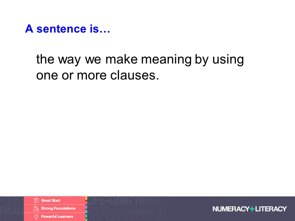 Faculty of Edit this on the Slide MasterThe University of Adelaide A sentence is… the way we make meaning by using one or more clauses.