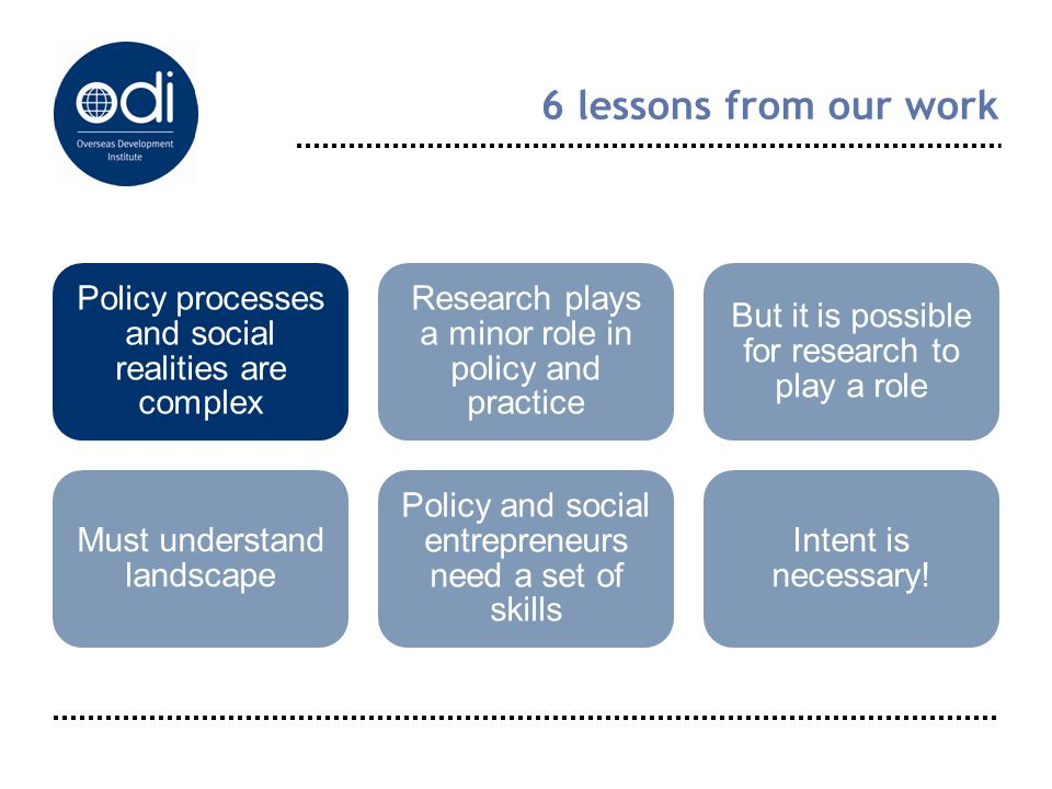 6 lessons from our work Policy processes and social realities are complex Research plays a minor role in policy and practice But it is possible for re