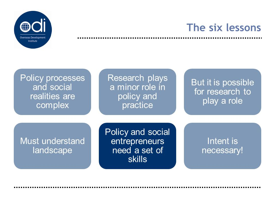 The six lessons Policy processes and social realities are complex Research plays a minor role in policy and practice But it is possible for research t