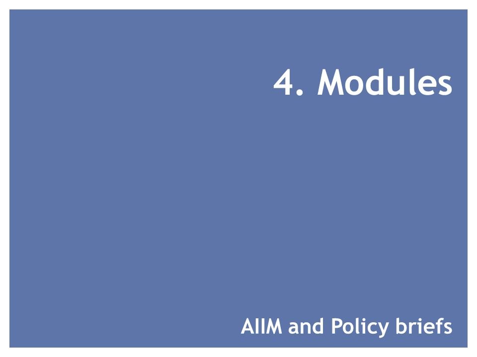 4. Modules AIIM and Policy briefs