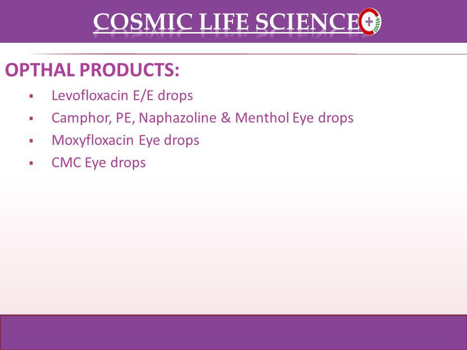 OPTHAL PRODUCTS: Levofloxacin E/E drops Camphor, PE, Naphazoline & Menthol Eye drops Moxyfloxacin Eye drops CMC Eye drops