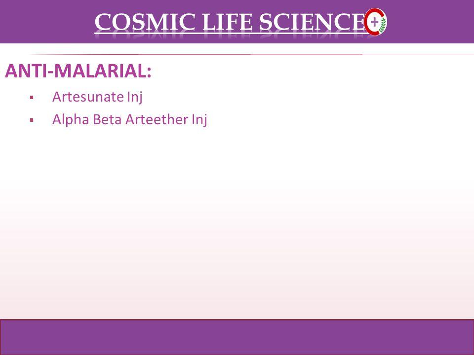 ANTI-MALARIAL: Artesunate Inj Alpha Beta Arteether Inj