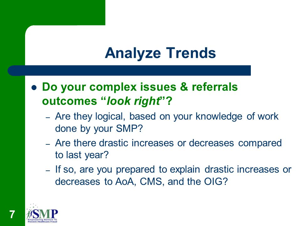 Analyze Trends Do your complex issues & referrals outcomes look right.