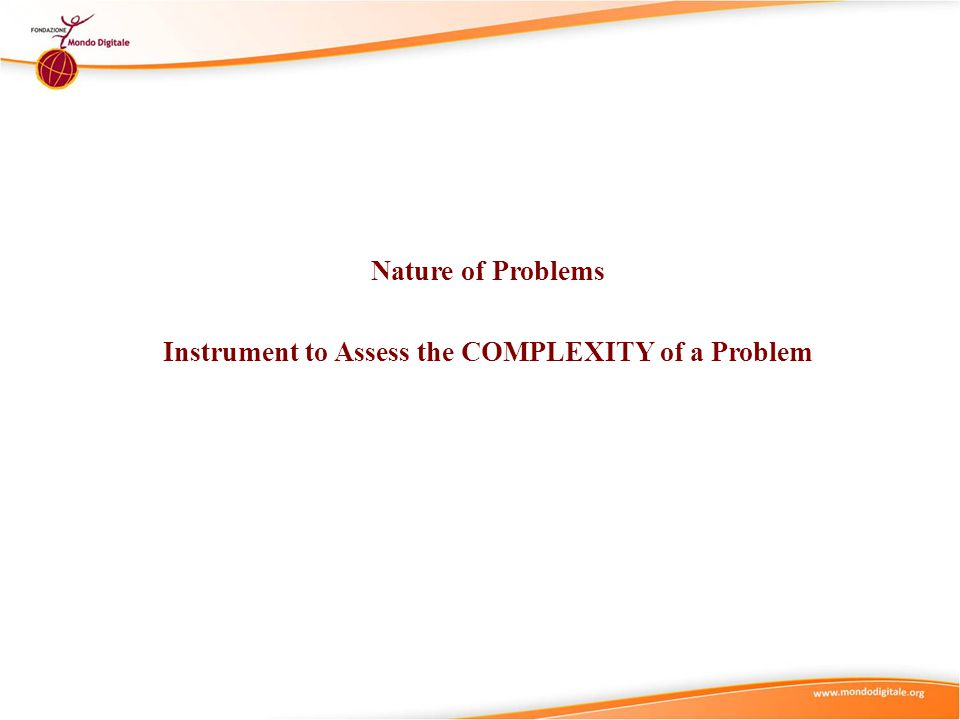 Nature of Problems Instrument to Assess the COMPLEXITY of a Problem
