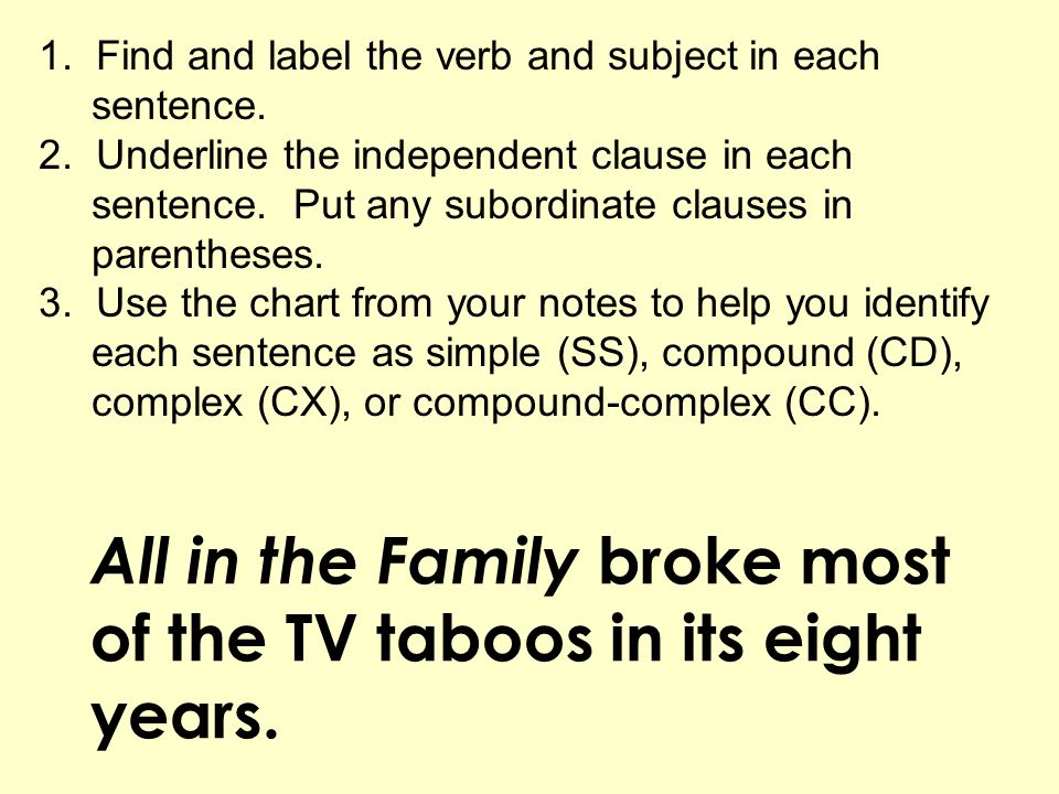 All in the Family broke most of the TV taboos in its eight years. 1. Find and label the verb and subject in each sentence. 2. Underline the independen