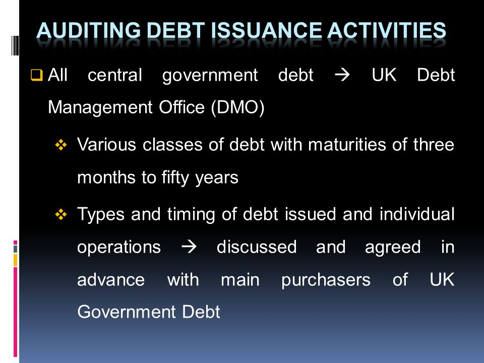 All central government debt UK Debt Management Office (DMO) Various classes of debt with maturities of three months to fifty years Types and timing of debt issued and individual operations discussed and agreed in advance with main purchasers of UK Government Debt