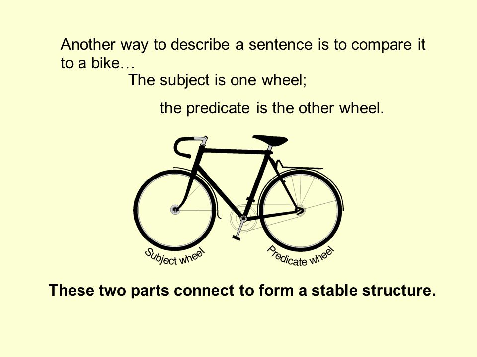Another way to describe a sentence is to compare it to a bike … These two parts connect to form a stable structure.