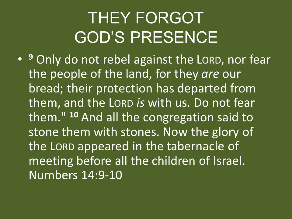 THEY FORGOT GODS PRESENCE 9 Only do not rebel against the L ORD, nor fear the people of the land, for they are our bread; their protection has departe